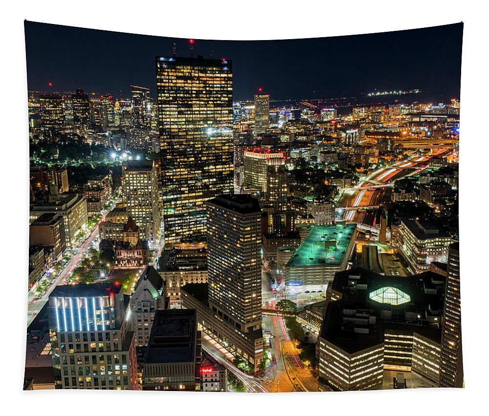 Boston Tapestry featuring the photograph Looking Down On Boston Boston Ma by Toby McGuire