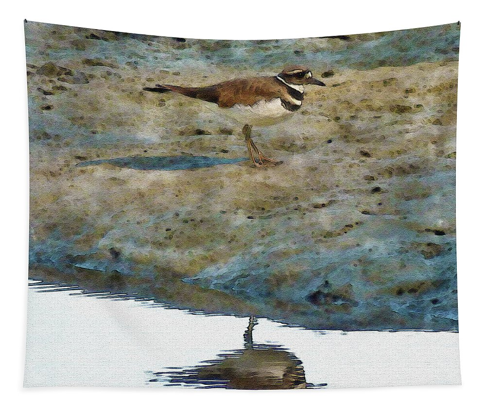 Sandpiper Tapestry featuring the digital art Looking Sharp by Leslie Montgomery
