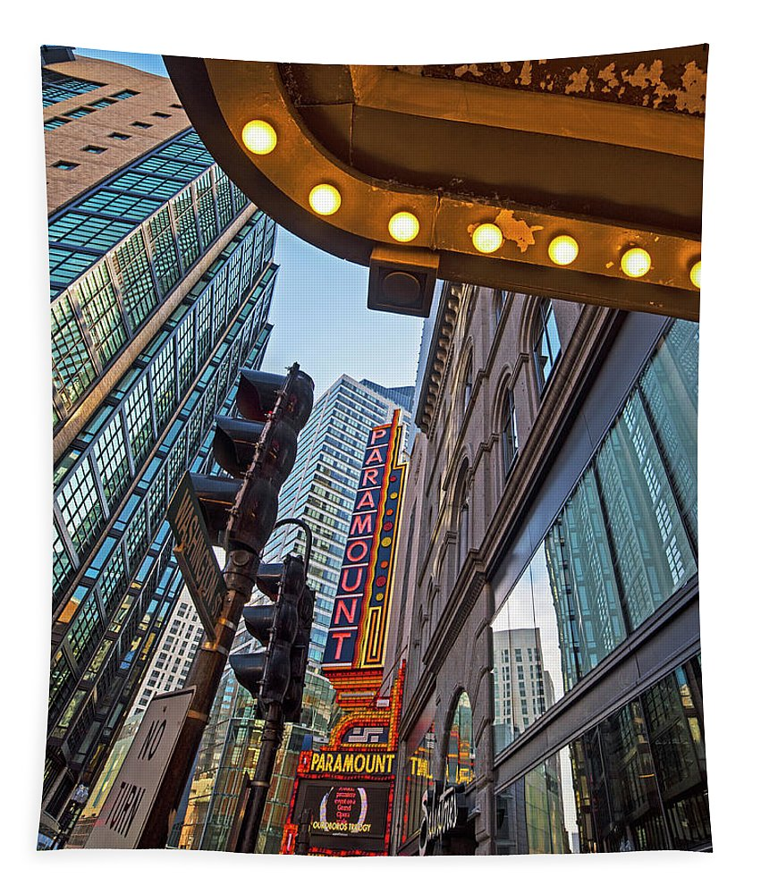 Boston Tapestry featuring the photograph Looking Up At The Boston Paramount Boston Ma by Toby McGuire