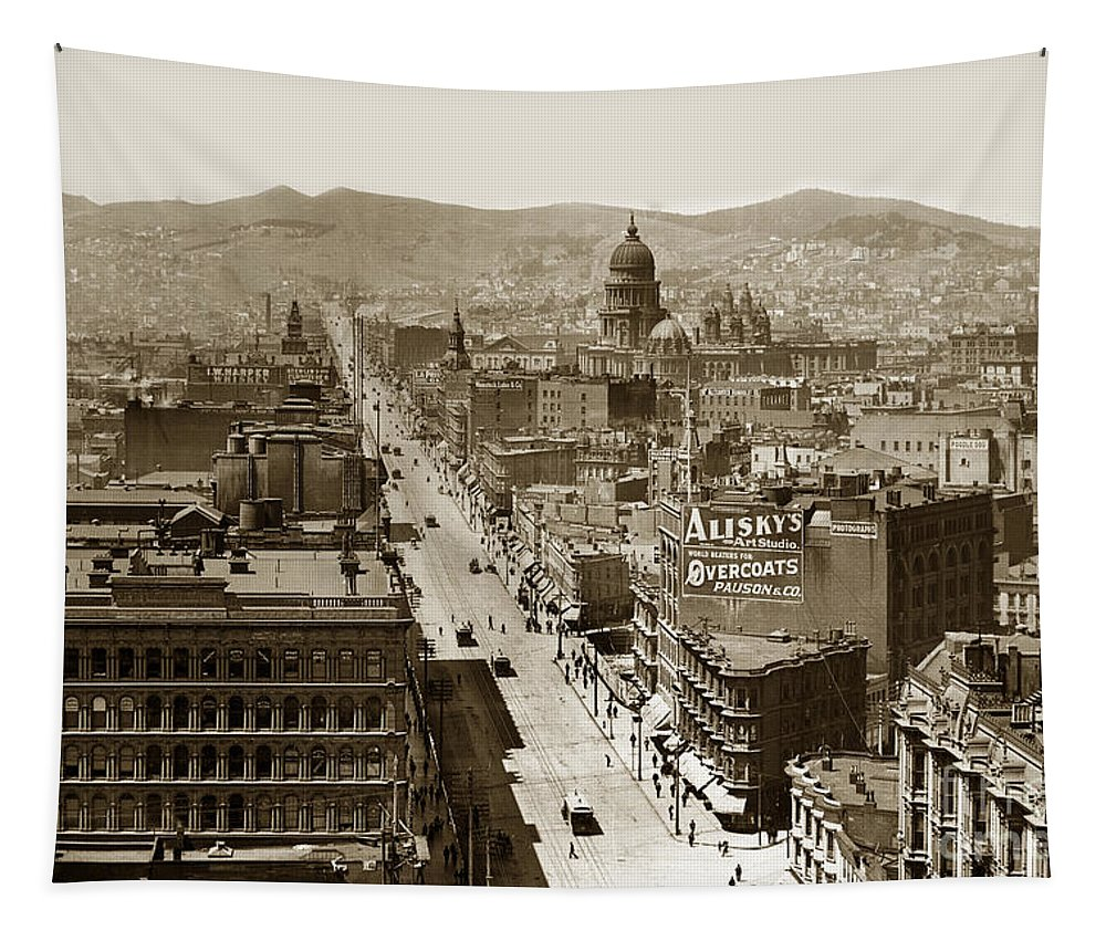San Francisco Tapestry featuring the photograph Looking Up Market Street From The Call Building With City Hall Circa 1900 by California Views Archives Mr Pat Hathaway Archives