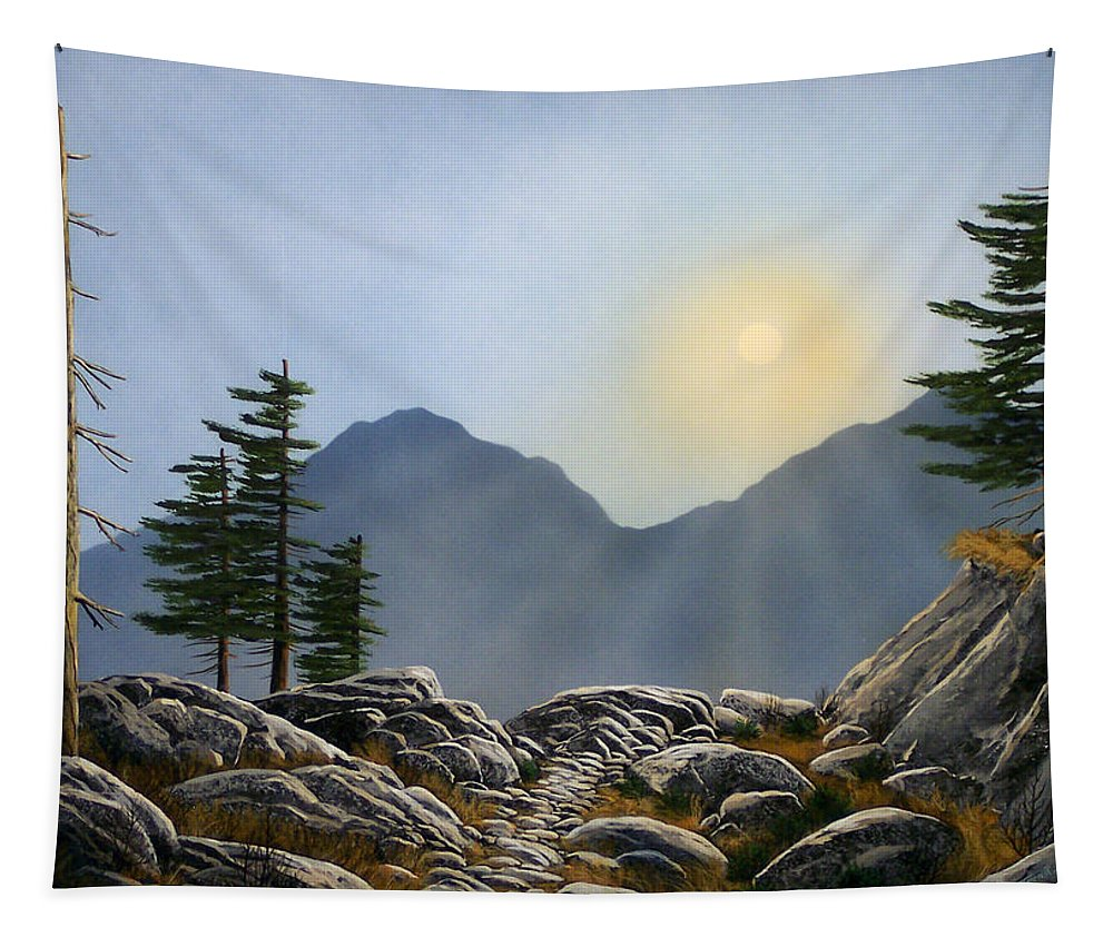 Landscape Tapestry featuring the painting Lookout Rock by Frank Wilson