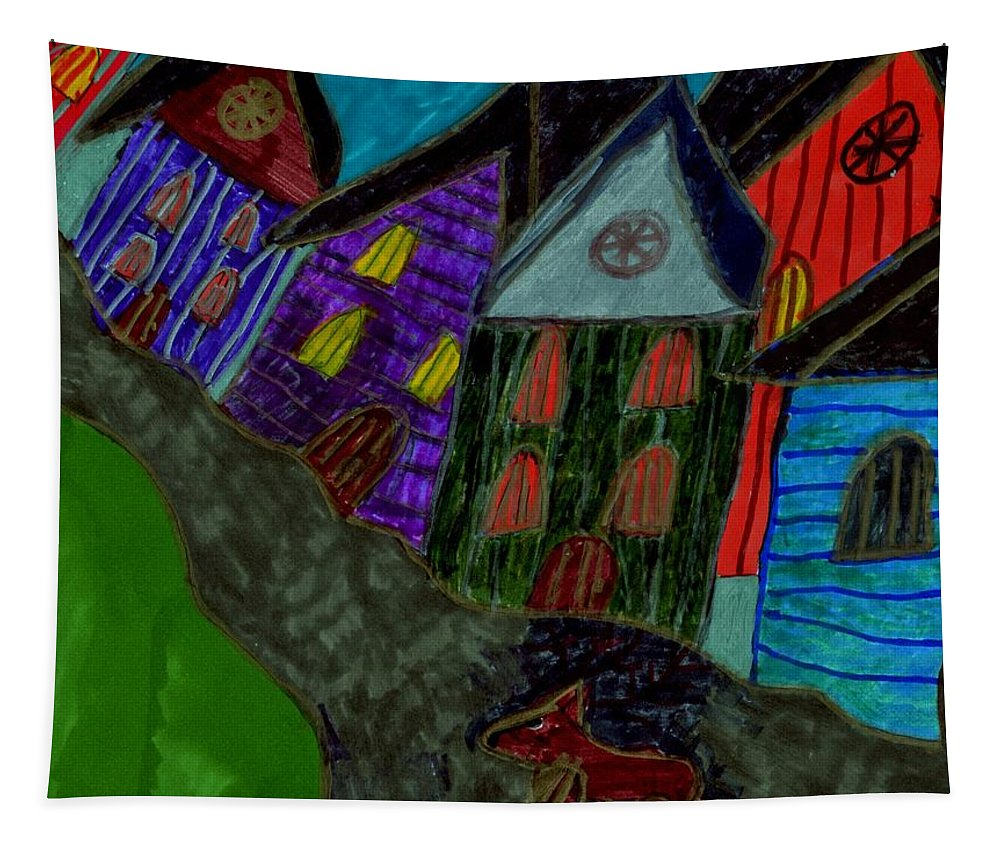 Dog Walking In The Street Through A Village Tapestry featuring the mixed media Lost Dog by Elinor Helen Rakowski