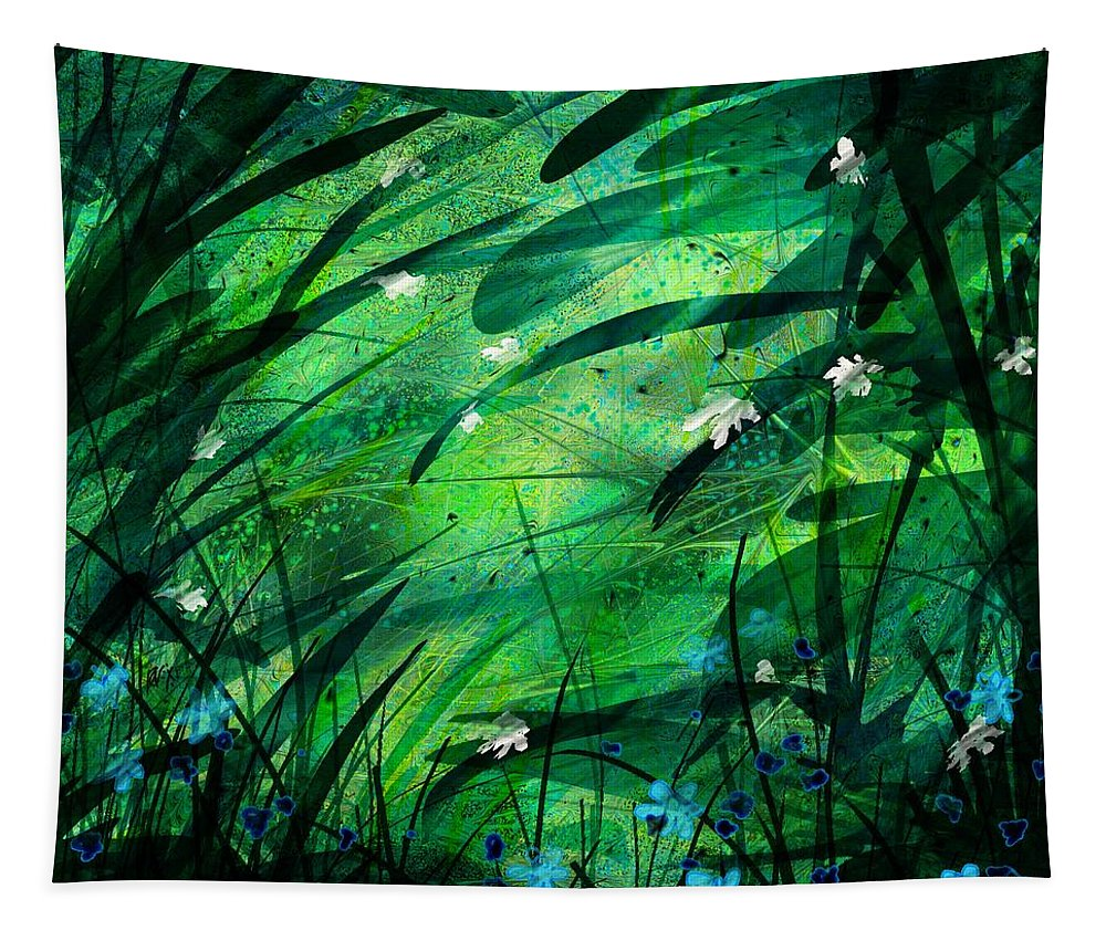 Abstract Tapestry featuring the digital art Lost in Paradise by William Russell Nowicki