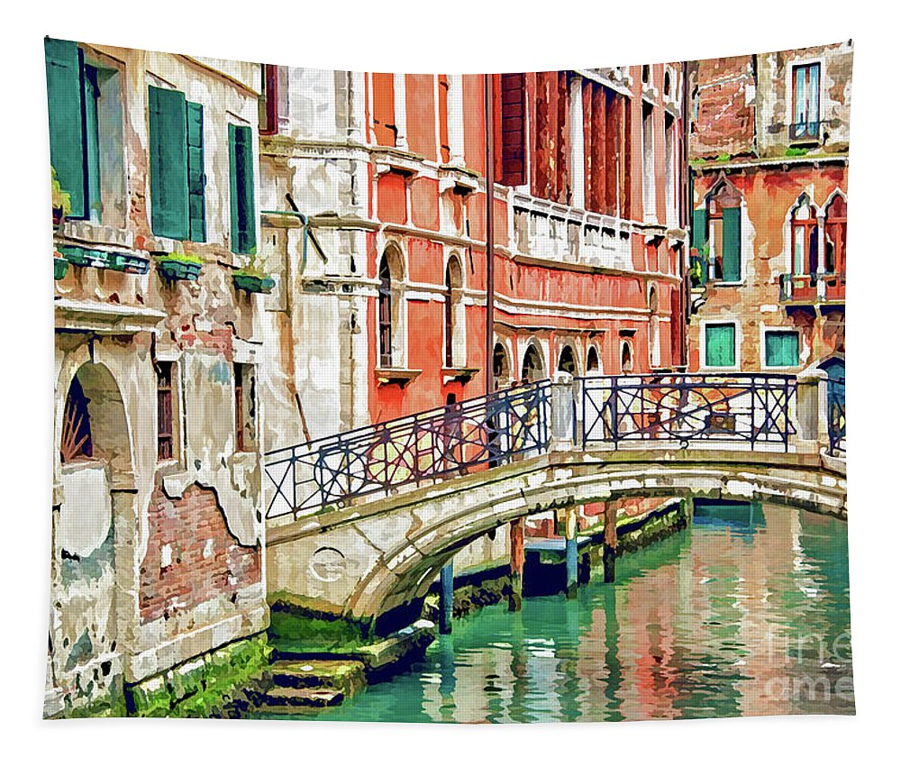 Venice Tapestry featuring the painting Lost In Venice by Delphimages Photo Creations