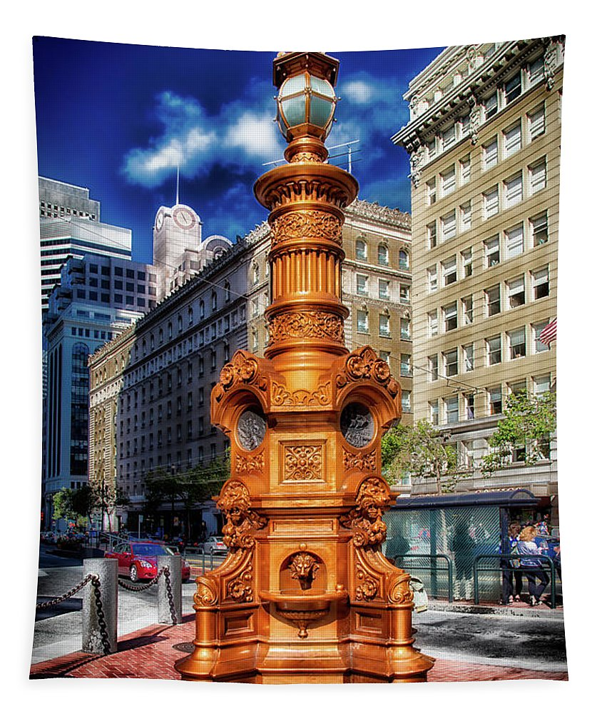 Lotta's Fountain Tapestry featuring the photograph Lotta's Fountain - San Francisco by Mountain Dreams
