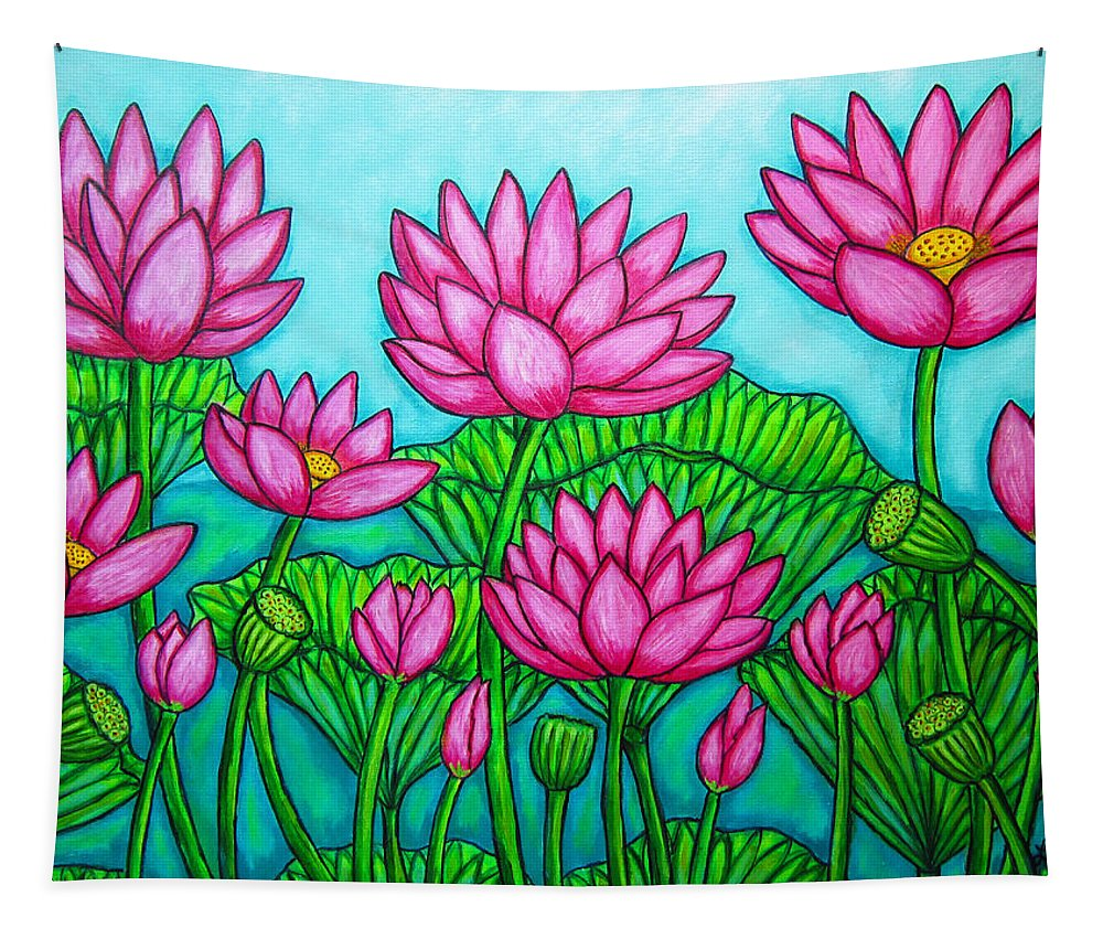 Lotus Tapestry featuring the painting Lotus Bliss II by Lisa Lorenz
