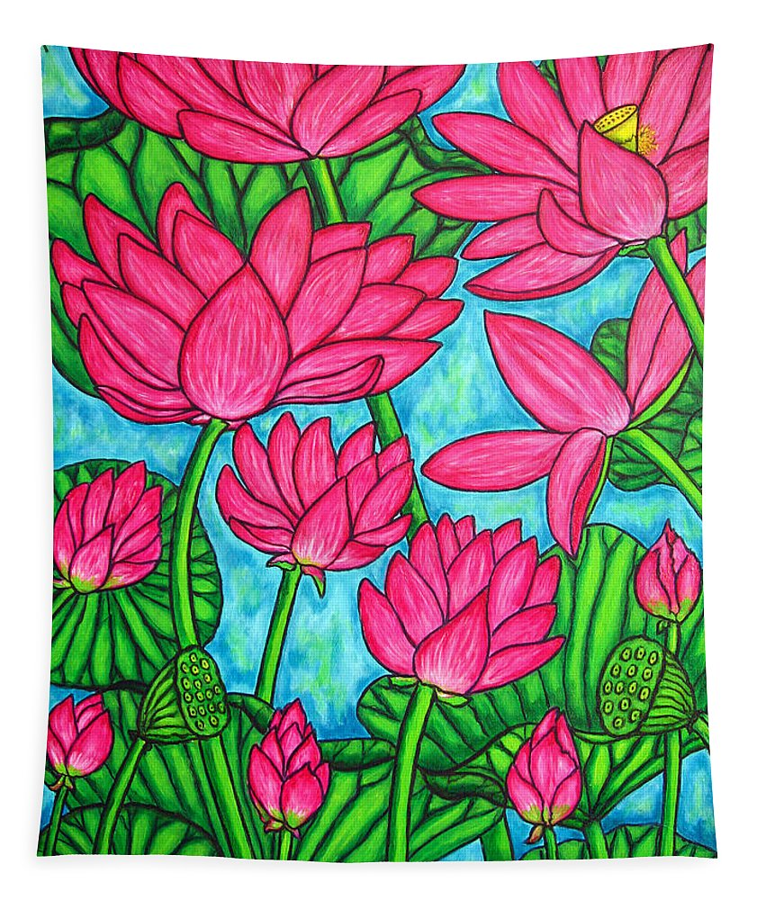 Tapestry featuring the painting Lotus Bliss by Lisa Lorenz