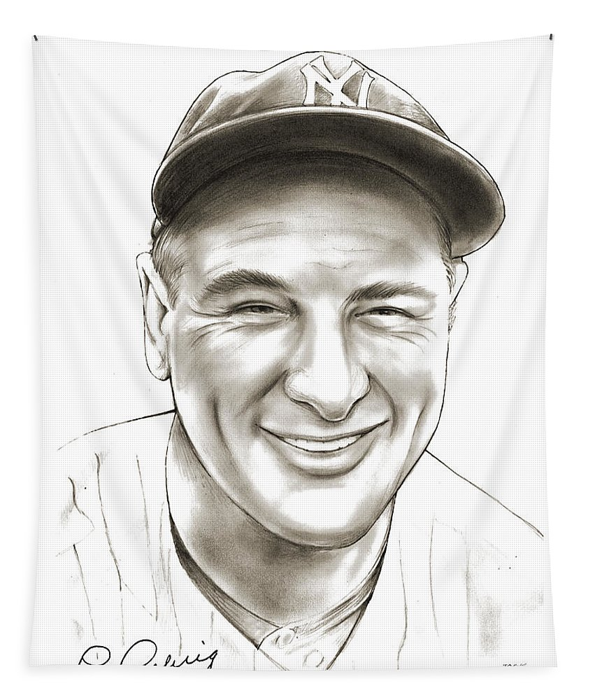 Lou Gehrig Tapestry featuring the drawing Lou Gehrig by Greg Joens