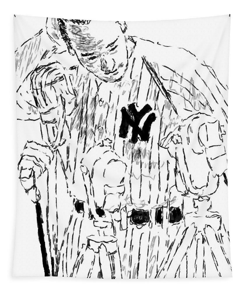 Lou Gehrig Tapestry featuring the painting Lou Gehrig by Jack Bunds