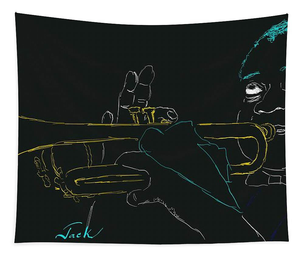 Tapestry featuring the painting Louis Armstrong by Jack Bunds