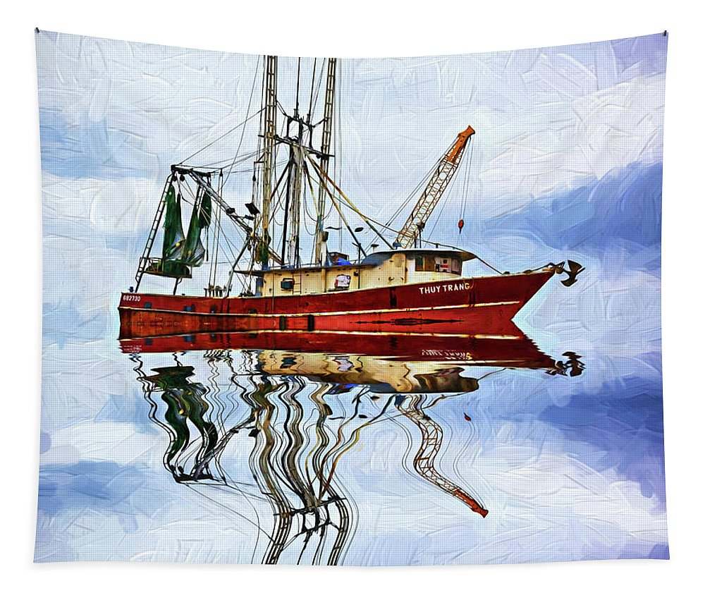 Steve Harrington Tapestry featuring the photograph Louisiana Shrimp Boat 4 - Impasto by Steve Harrington