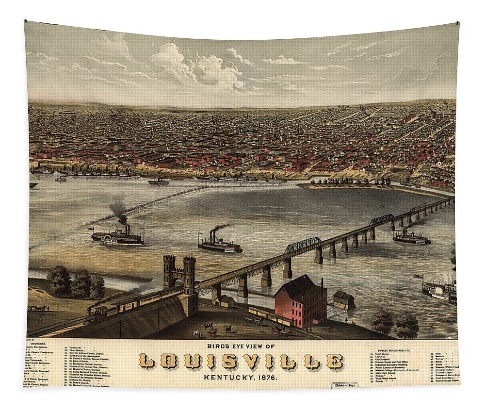 Louisville Tapestry featuring the photograph Louisville Vintage Map by Dale Powell