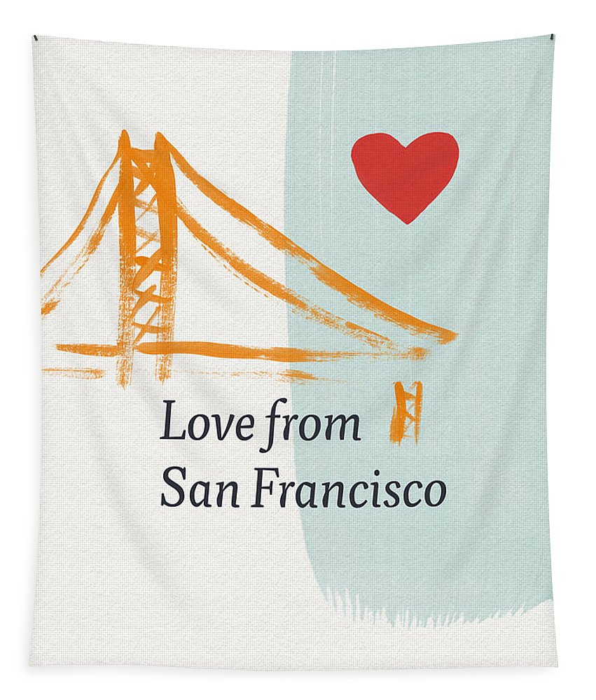 Love Tapestry featuring the painting Love From San Francisco- Art by Linda Woods by Linda Woods