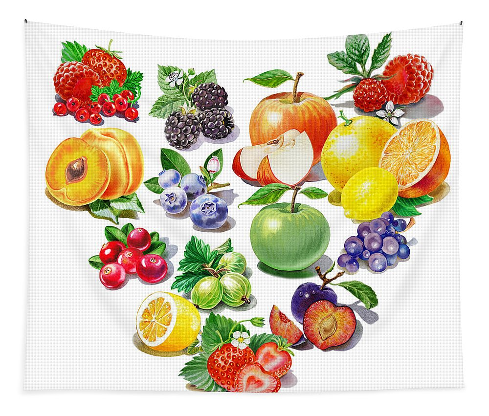 Heart Tapestry featuring the painting Love Fruits And Berries by Irina Sztukowski