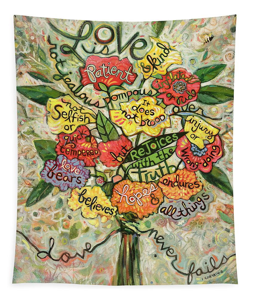 Jen Norton Tapestry featuring the painting Love Is Patient by Jen Norton