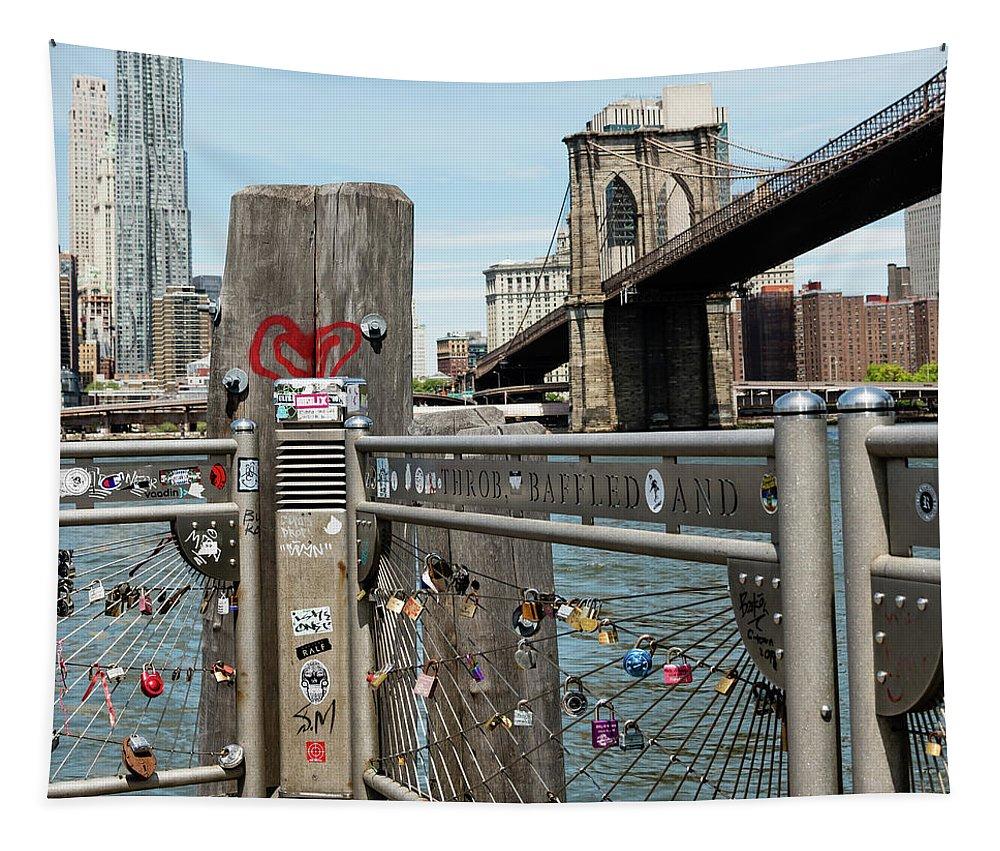 New York City Tapestry featuring the photograph Love Locks In Brooklyn New York by Robert VanDerWal