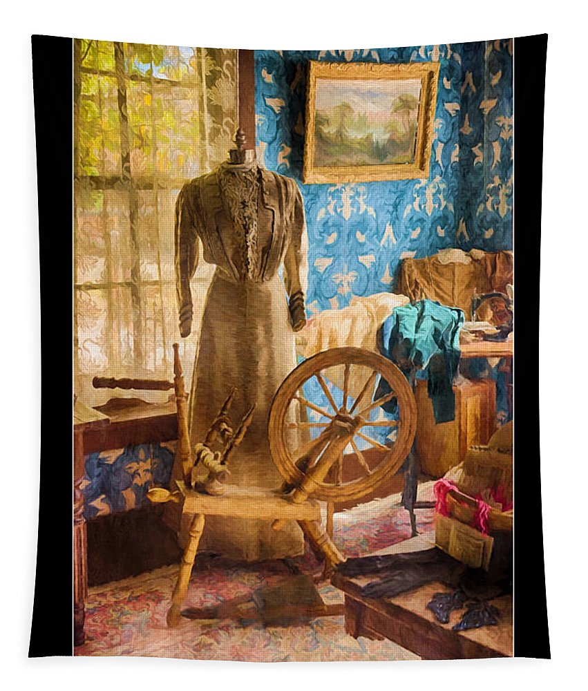 Love Of Sewing Poster Tapestry featuring the photograph Love Of Sewing Poster by Priscilla Burgers