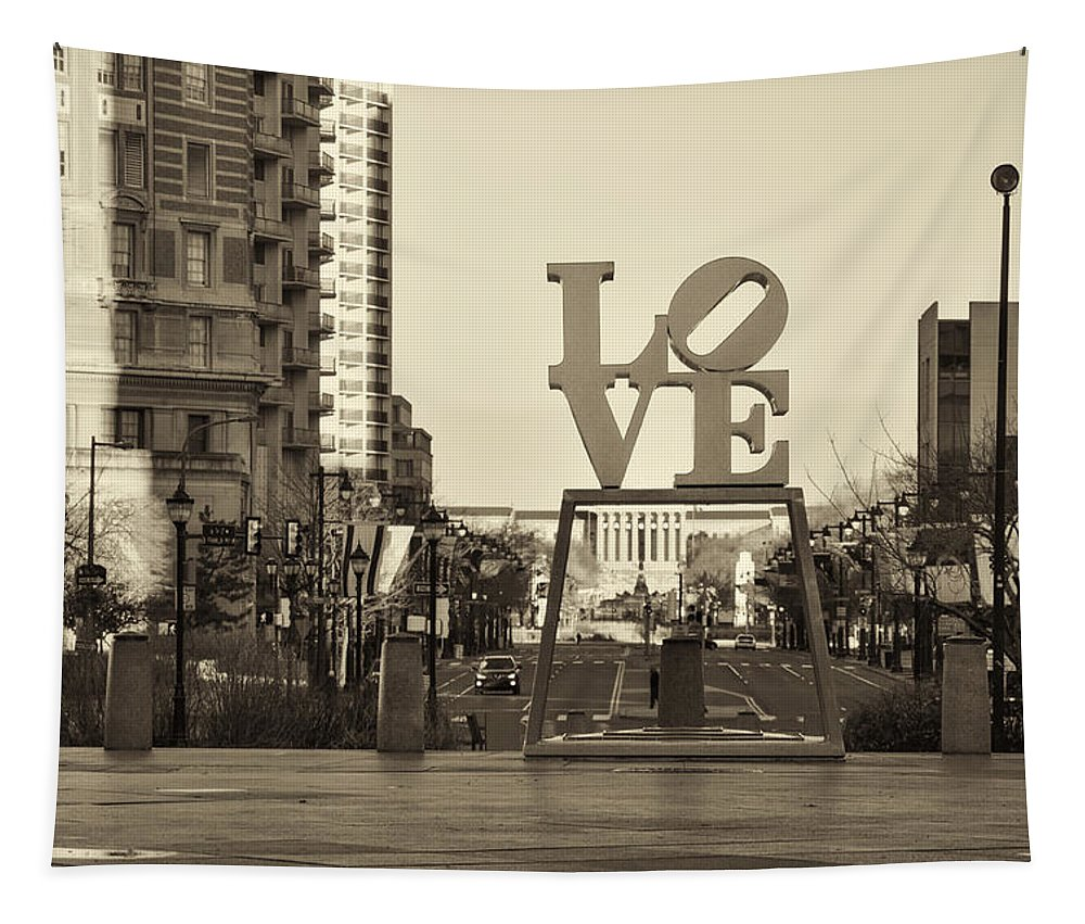 Love Tapestry featuring the photograph Love On The Parkway In Sepia by Bill Cannon
