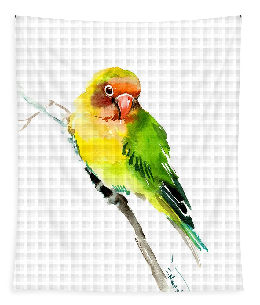 Orange Tapestry featuring the painting Lovebird by Suren Nersisyan