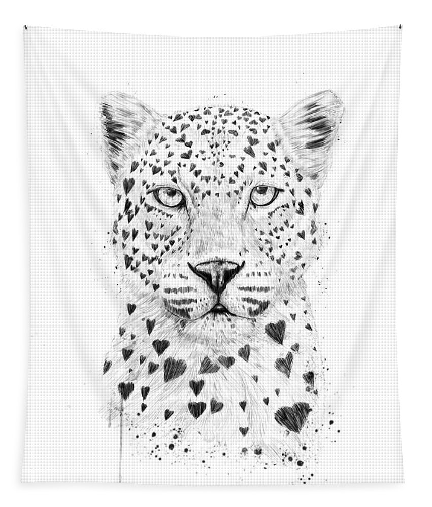 Leopard Tapestry featuring the drawing Lovely leopard by Balazs Solti