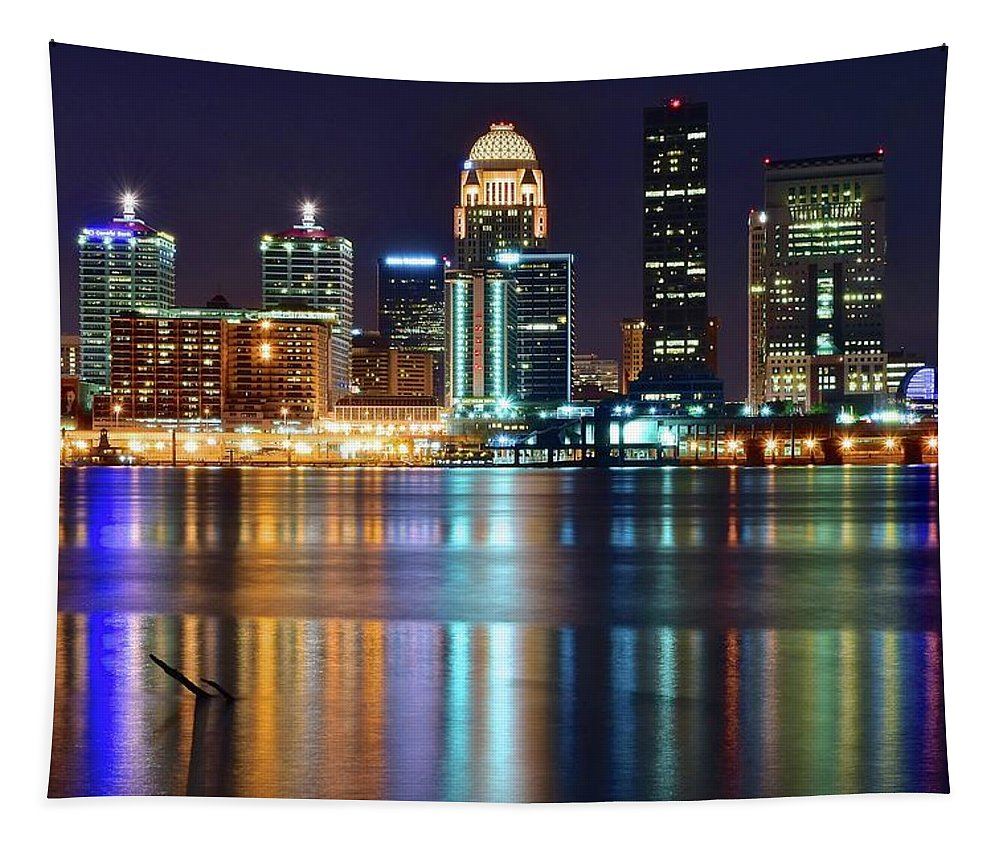Louisville Tapestry featuring the photograph Lovely Louisville Lights by Frozen in Time Fine Art Photography