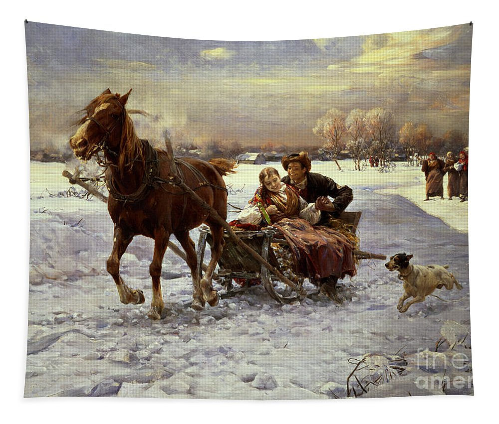 Couple Tapestry featuring the painting Lovers In A Sleigh by Alfred von Wierusz Kowalski