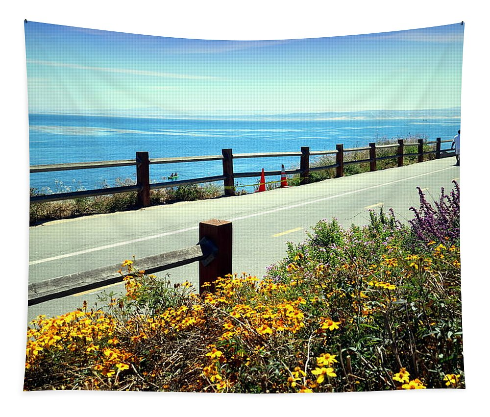 Lovers-point Tapestry featuring the photograph Lovers Point Walkway by Joyce Dickens