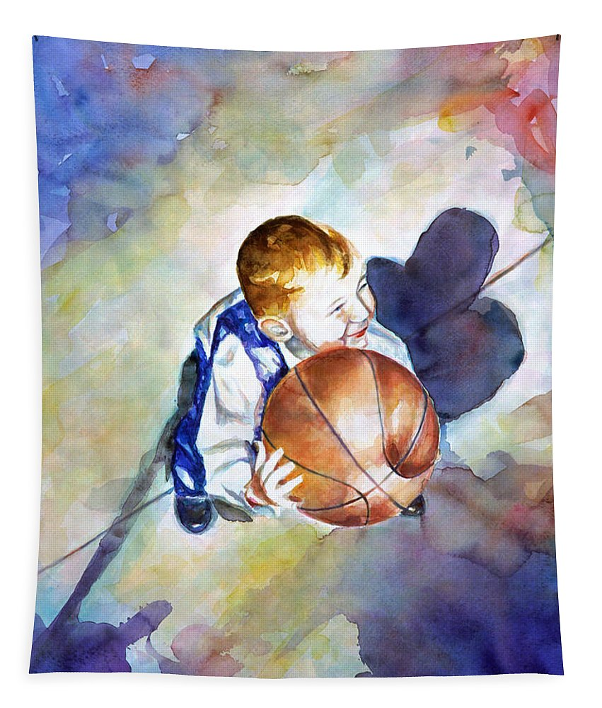 Watercolor Tapestry featuring the painting Loves the Game by Shannon Grissom