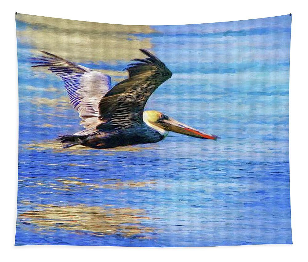 Alicegipsonphotographs Tapestry featuring the photograph Low Flying Pelican by Alice Gipson