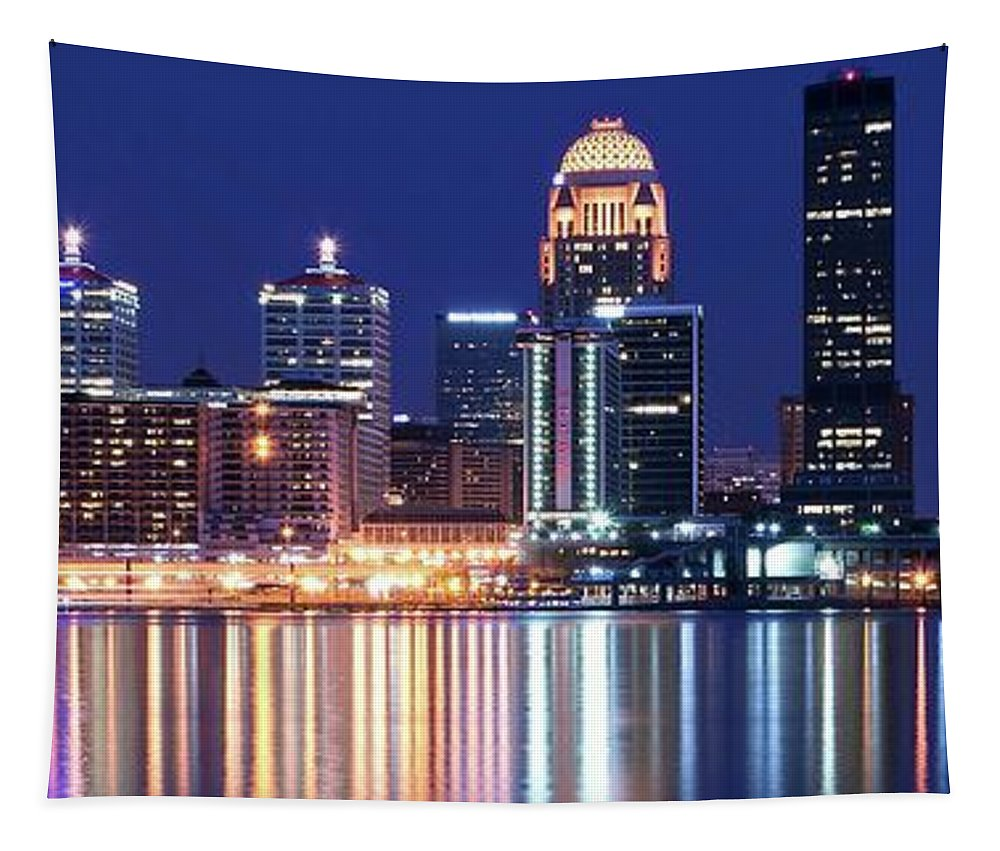 Louisville Tapestry featuring the photograph Low Moon Over Louisville by Frozen in Time Fine Art Photography