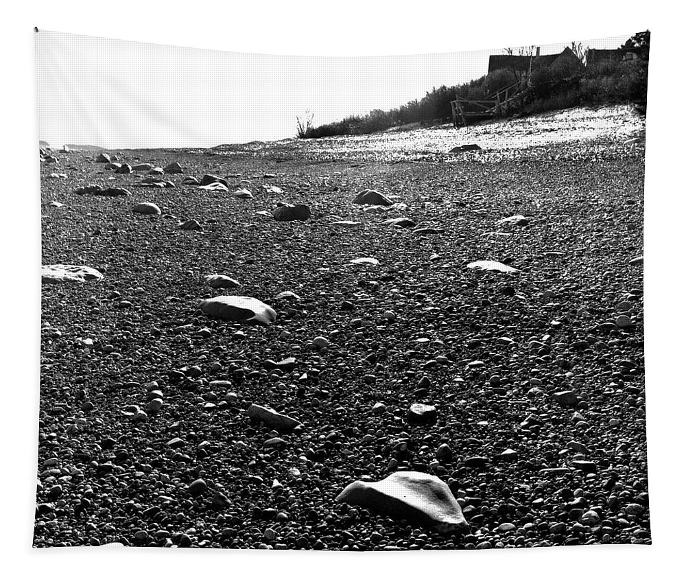 Black And White Tapestry featuring the photograph Low Tide At Linwood's House 26 by Timothy Bischoff
