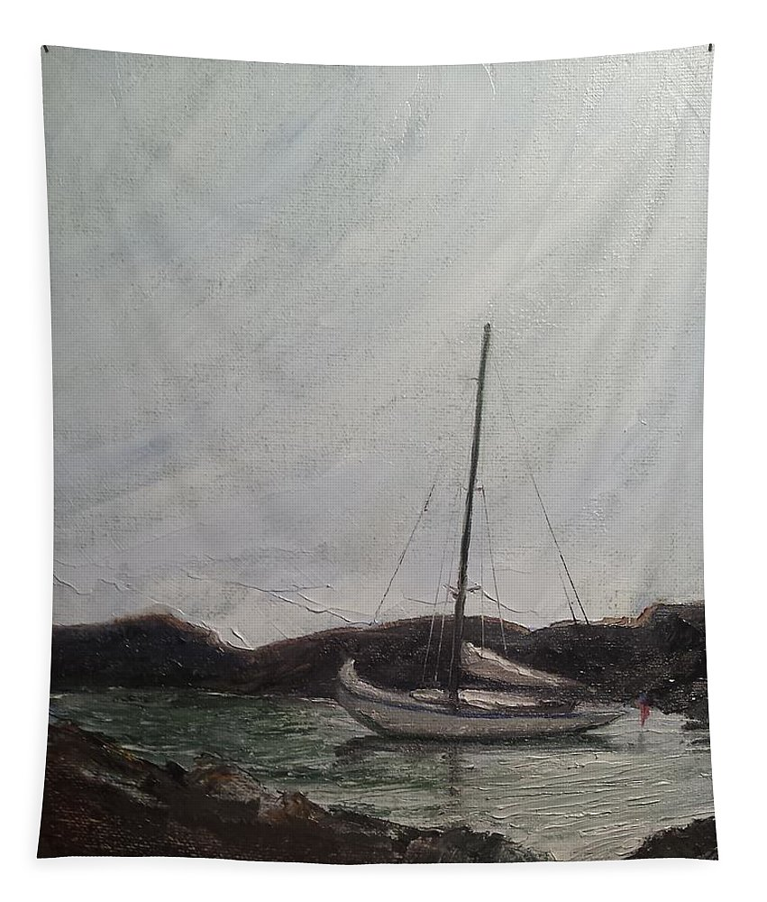 Sailboat Tapestry featuring the painting Low Tide Mooring by Susan Hanna