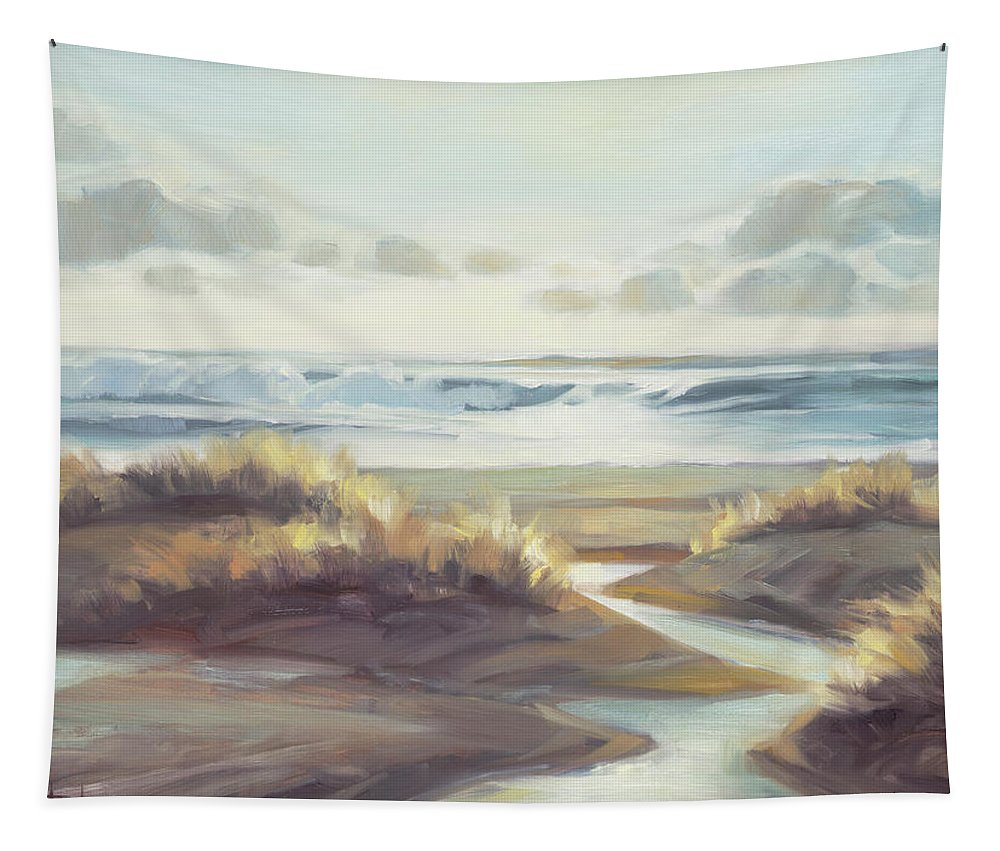 Ocean Tapestry featuring the painting Low Tide by Steve Henderson