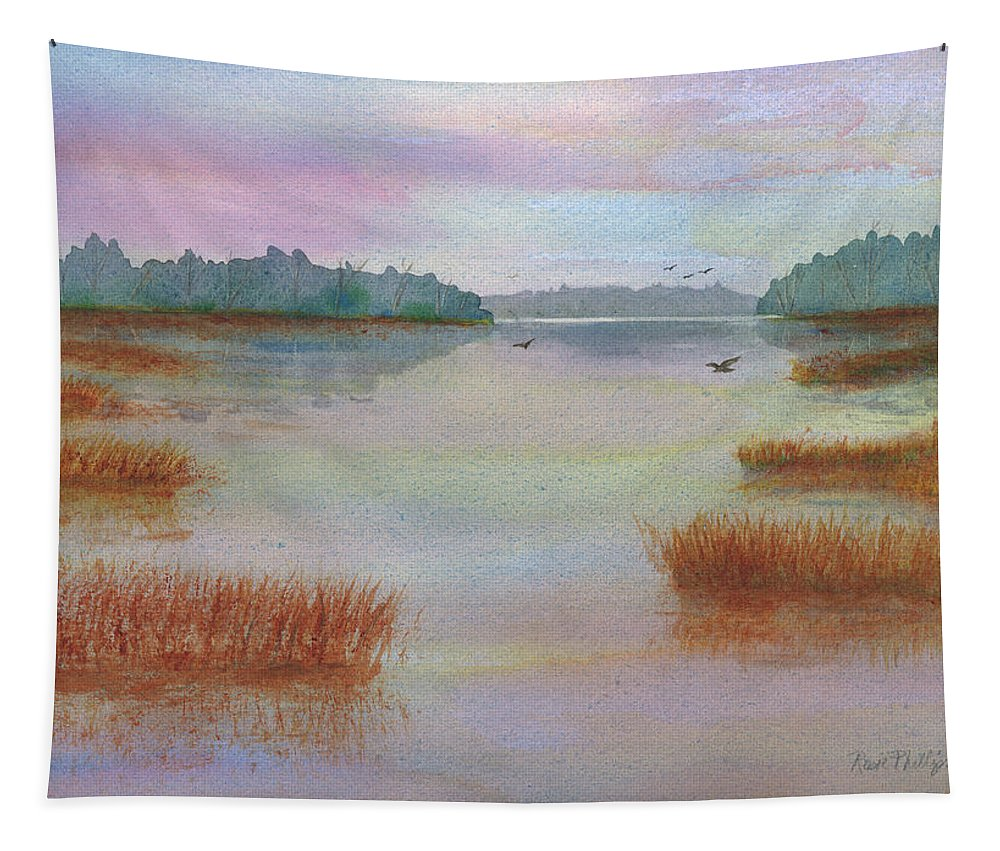 Landscape Tapestry featuring the painting Lowcountry Sunset by Rosie Phillips