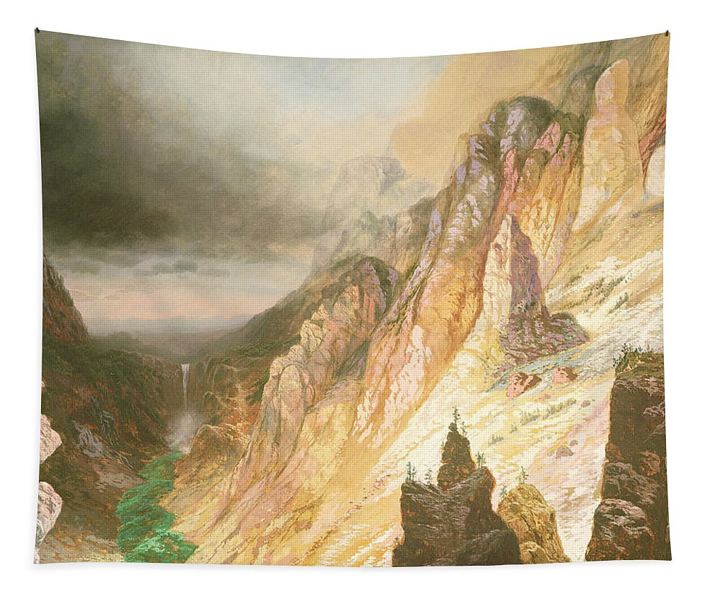 Lower Falls Tapestry featuring the painting Lower Falls, Grand Canyon Of The Yellowstone River by Charles H Chapin