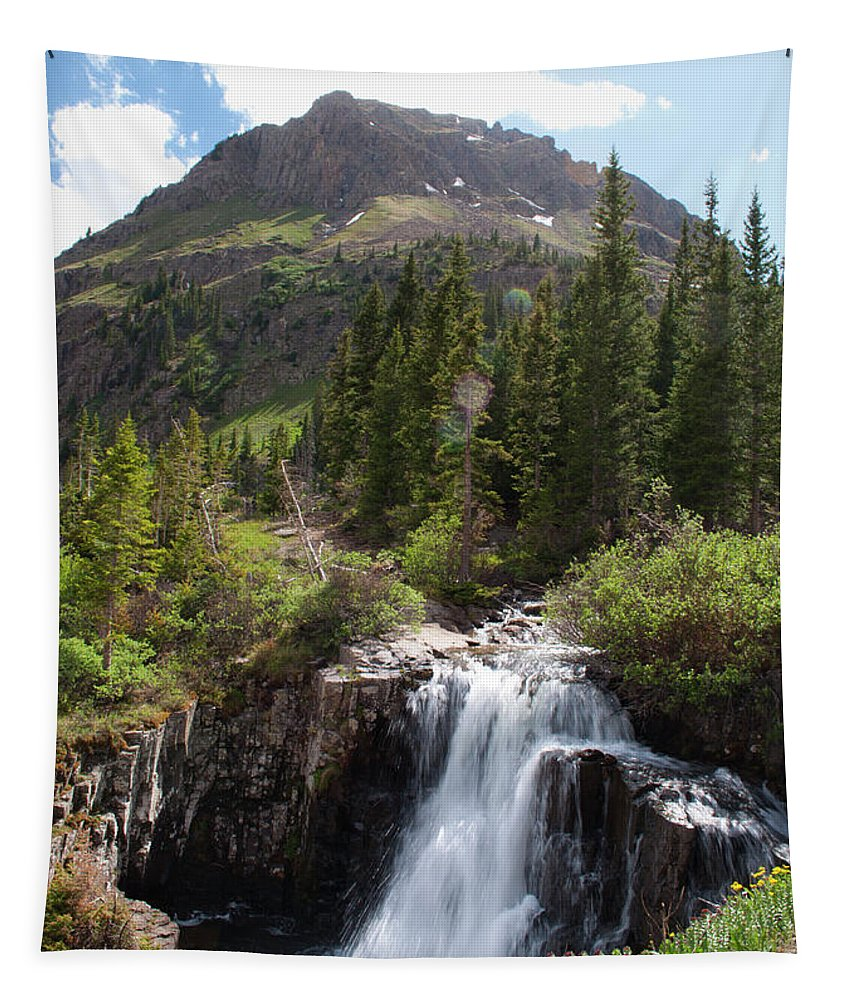 Colorado Tapestry featuring the photograph Lower Falls by Julia McHugh