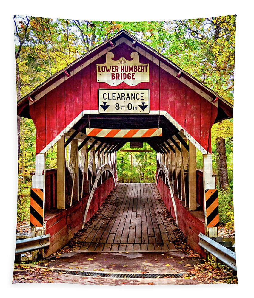 Pennsylvania Tapestry featuring the photograph Lower Humbert Covered Bridge 5 by Steve Harrington