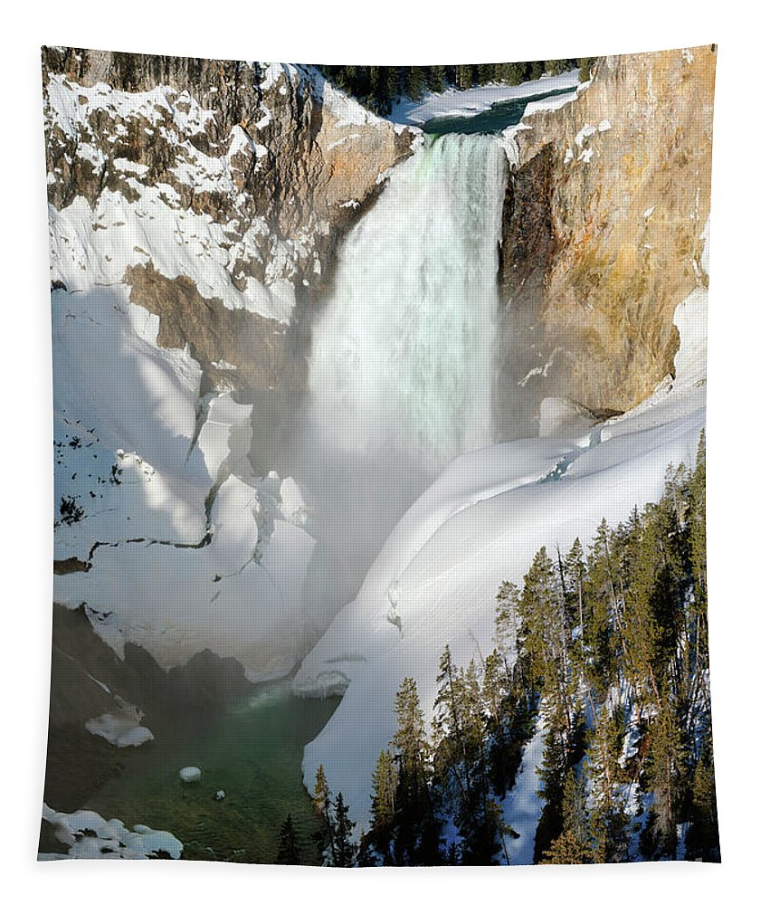 Lower Yellowstone Falls Tapestry featuring the photograph Lower Yellowstone Falls by Wildlife Fine Art