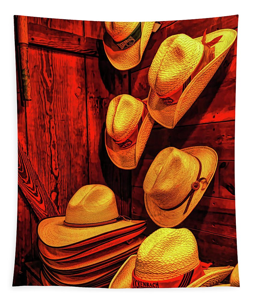 Cowboy Hat Tapestry featuring the photograph Luckenbach Hats Hdr by Judy Vincent