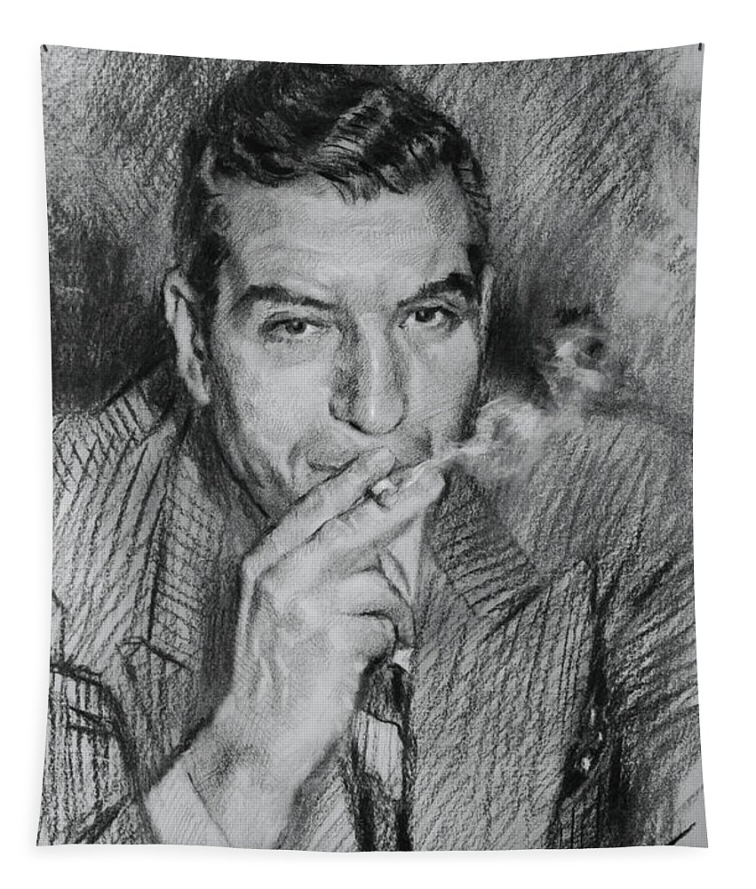 Lucky Luciano Tapestry featuring the drawing Lucky Luciano by Ylli Haruni