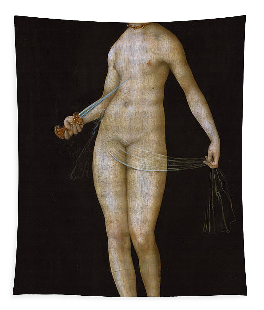 Nude Tapestry featuring the painting Lucretia by Lucas the elder Cranach