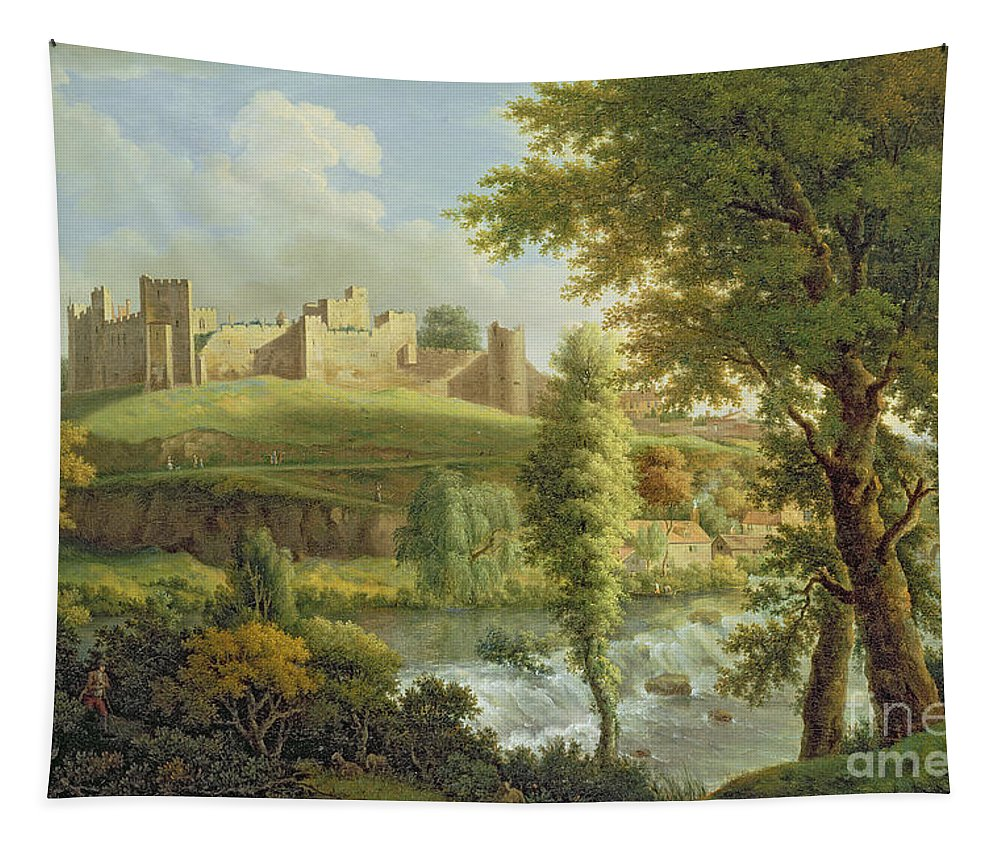 Ludlow Tapestry featuring the painting Ludlow Castle With Dinham Weir by Samuel Scott