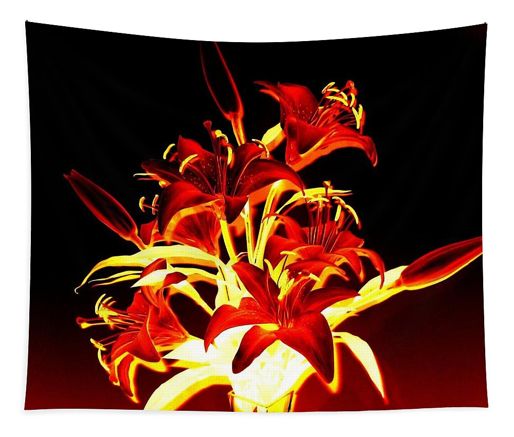 Lilies Tapestry featuring the digital art Luminous Lilies by Will Borden