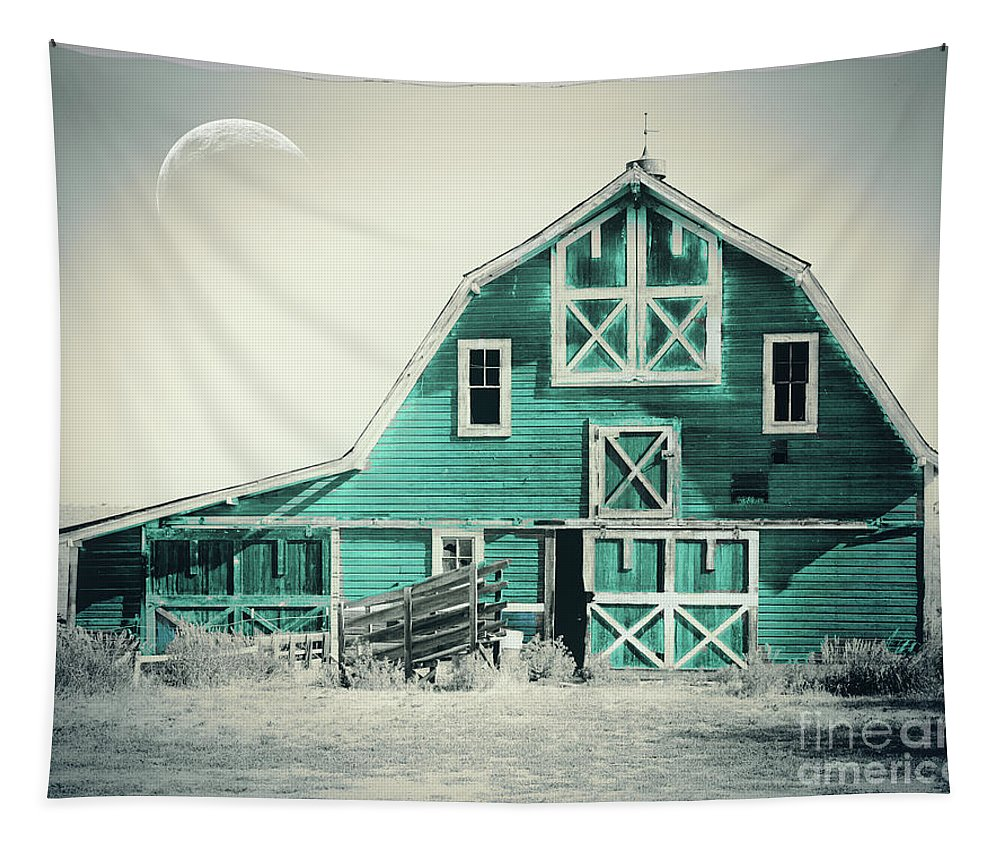 Barn Tapestry featuring the painting Luna Barn Teal by Mindy Sommers