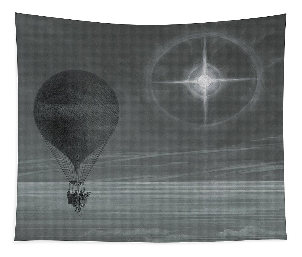 Star Tapestry featuring the drawing Lunar Halo And Luminescent Cross Observed During The Balloon Zenith's Long Distance Flight by French School