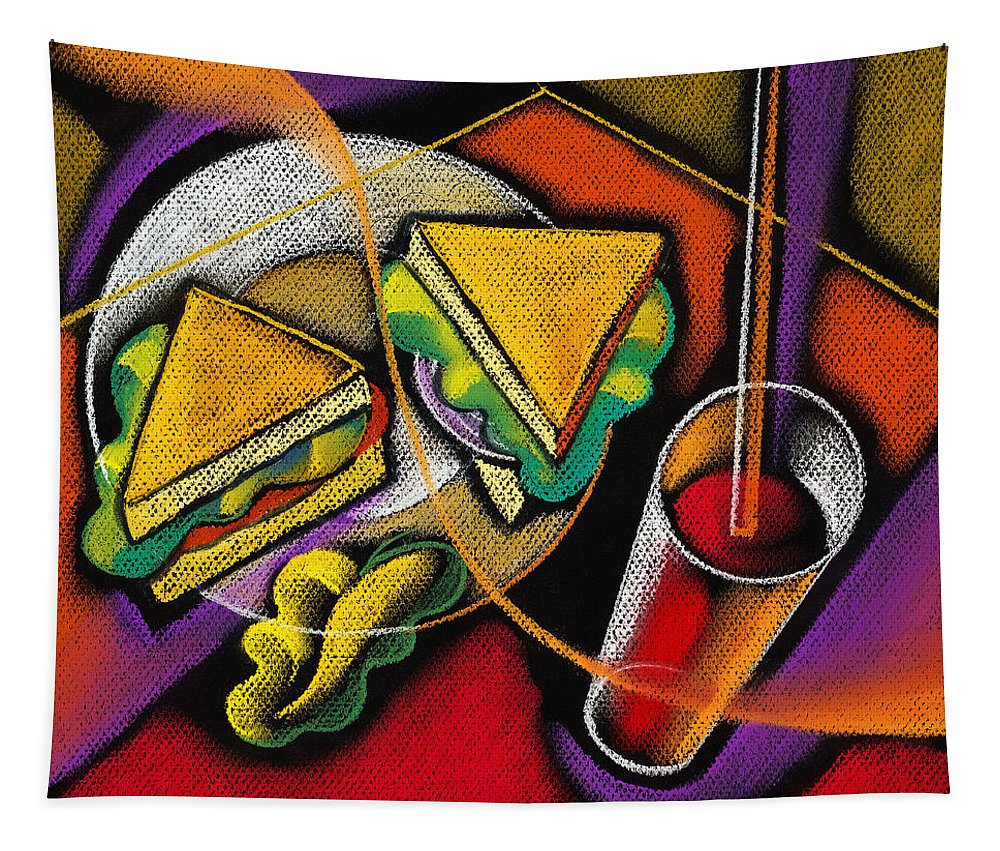 Bowl Close Up Color Image Concept Convenience Dinner Food And Drink Fork Grape Hamburger Illustration Illustration And Painting Lunch Macaroni Macaroni And Cheese Nobody Sandwich Square Image Still Life Variety Assortment Bread Close-up Color Colour Cutlery Drawing Food Fruit Ground Beef Meal Mince Pasta Square Still-life Abstract Painting Decorative Art Tapestry featuring the painting Lunch by Leon Zernitsky
