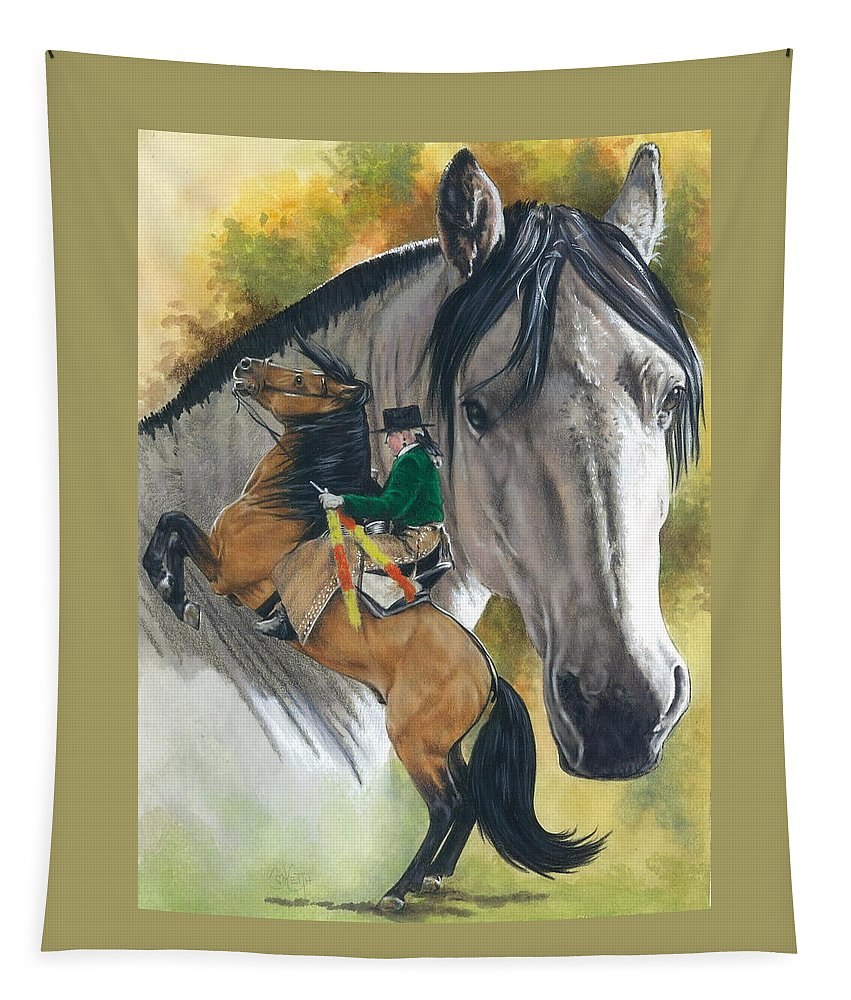 Hoof Stock Tapestry featuring the mixed media Lusitano by Barbara Keith
