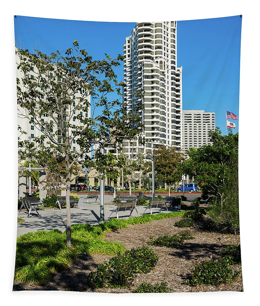 Luxury High Rise Apartment Building In Downtown San Diego Tapestry featuring the photograph Luxury High Rise Apartments by Robert VanDerWal