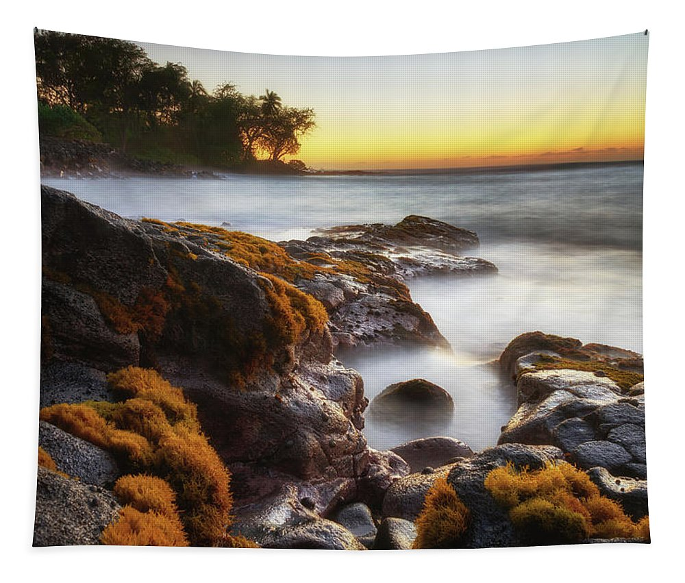 Big Island Tapestry featuring the photograph Lyman's Sunset by Christopher Johnson