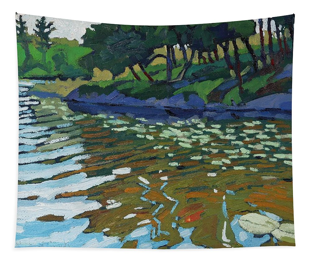 Red Tapestry featuring the painting Lyndhurst Lake by Phil Chadwick